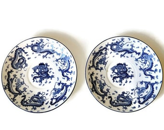 Pair Matching Mid Century Blue and White China Plates with Dragons- Vintage  Transferware - Plant Tuscan China
