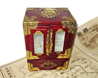 Chinese Jewelry Box/ Brass fittings/ Carved Jade Inlay/ Dove Tailed Joints Antique Chinese Hardwood Chest