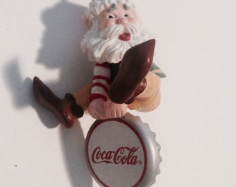 "COCA-COLA, 1992 ""Bottling Works Collection"" Ornament, ""Thirsting for Adventure!"" -- Santa Riding on a Coca-Cola Bottle Cap!  Adorable!"