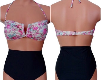 Black High Waist Bikini with Floral Bandeau