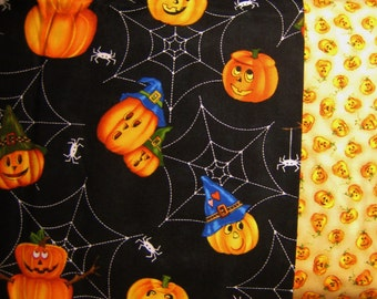 "Northcott Scary Night by Laurie Grodin Halloween 1yd + 32""  Orange Pumpkins and Pumpkins on Black Spider Webs with Spiders #2206 and #2208"