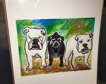 Large print of mixed media piece two bullies and a pug french bulldogs