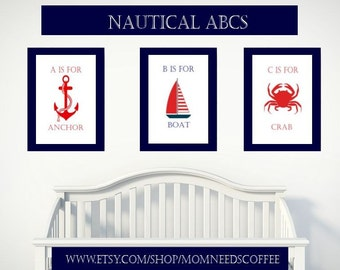 Instant Download - Nautical ABCs, nautical nursery theme, nautical nursery art, nautical prints, nautical,Baby Boy Nursery Art,