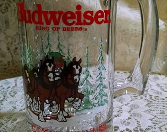 Vintage Budweiser Beer Glass, Clydesdales Mug, 1989, Official Product, Christmas Scene, Trees, Snow, Clear Glass Stein, Painted Art, Gift