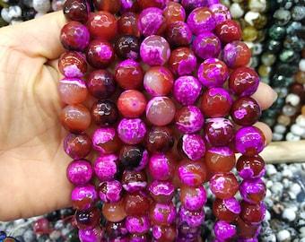 2 str -Hot Pink Fuchsia Agate 14mm Round ball beads -28pcs/strand