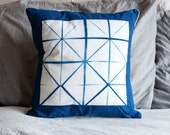 Itajime Indigo Windowpane Pillow Cover