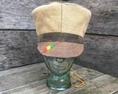 "Rasta Crown Tam Hat 23""-25"" Tan, jute, cotton with camouflage - reversible hat, crown"