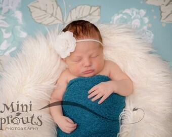 Ivory headband, infant headband, ivory newborn headband, rose heaband, baptism headband, christening headband, ivory baby headband