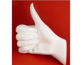 Thelermont Hupton Thumbs Up Hand Wall Hook-White Enamel Finish