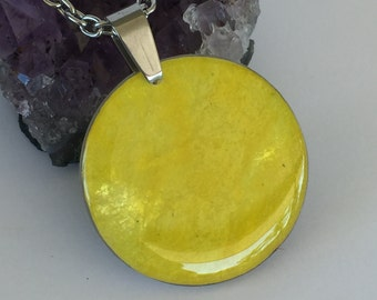 Sunshine Yellow Luna Bird's handmade PaperOpal with stainless steel finding