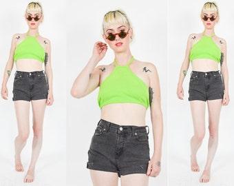 90's Neon Green Halter Crop Top. 90's GRUNGE. Backless Cropped. 90's Grunge Punk Mod