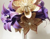 """A Dozen """"I Love You's"""" - 12 paper flowers with Stargazer lilies, gifts for her, 1st anniversary bouquet, hristmas gift,one of a kind origami"""