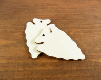 "Arrowhead Wood Tribal Earring Blanks Shapes Laser Cut Wood Pendant 2"" H x 1 5/16"" W (50mm x 33mm) - 12 Pieces"