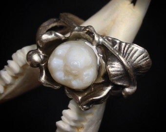 YOUR SUPPLIED BABYTOOTH - Made into Late Blooming Molar or Incisor: Resin Set Real Human Baby Tooth Adjustable Flower Ring