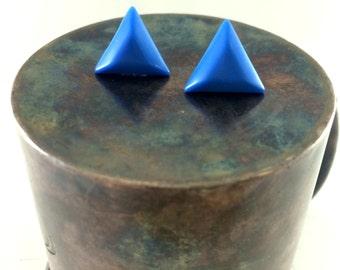 Bright blue triangle earrings