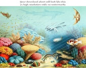 CORAL REEF 6.5x10 inch - Digital Printable Antique Illustration to Frame or Transfer onto Tote Bags Tees Pillows