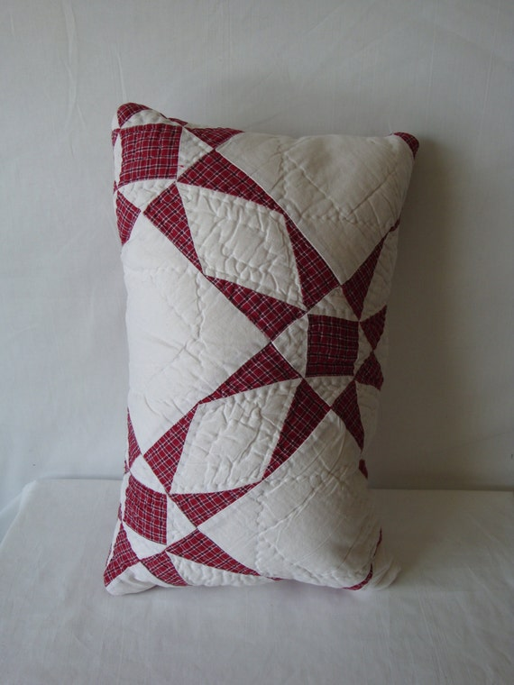 White Quilted Decorative Pillows : Star pillow recycled quilt star pillow white and red