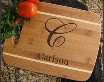 Personalized Cutting Board, Personalized Cheese Board, Custom Engraved Bamboo Cutting Board, Wedding Gifts, Housewarming Gift-Thin Stripe D3