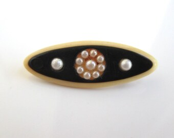 Antique Celluloid & Pearl Pin - Vintage, Small