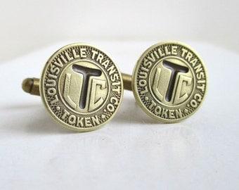 LOUISVILLE Transit Token Cuff Links - Gold, Vintage Repurposed Coins