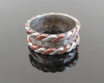 Sterling Silver & Copper Band Ring - Vintage