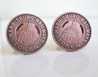 HARRISBURG, PA Railways Token Cuff Links - Vintage Coins