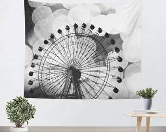 Hipster Tapestry - Ferris Wheel Art - Photo Tapestry - Bokeh Photography - Carnival Photograph - Dorm Art - Home Decor - Black and White Art