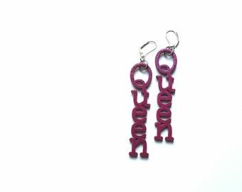 SALE// KWEEN cherry pink wood earrings