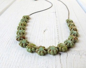 Floating Bead Necklace, Flower Choker, Czech Picasso Glass , Sage Green, Dainty Neck Piece, Boho Chic, Collar Length, Floral Motif, Rustic
