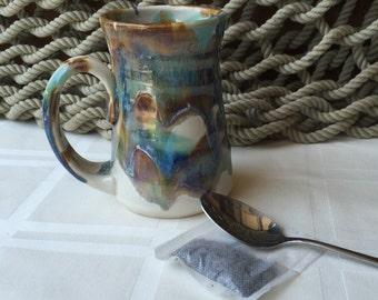 Pottery Mug in Tricolor Glaze 10 ounce