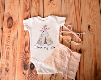 I Love My Tribe Bodysuit, Girls Baby Clothing, Baby Shower Gift, Hipster Baby, Cute Funny Baby Bodysuit, Teepee Baby Bodysuit, Funny Baby
