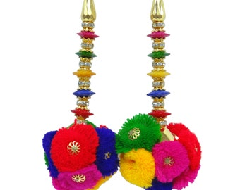 Indian Women New Multicolor Pom Pom Tassel Latkan Bridal Wedding Dress Blouse Sari Sewing Making Material Accesory 1 PAIR FRA265A