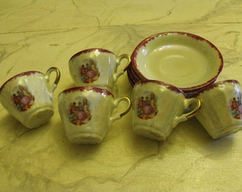 Demitasse Cups, Set of 5/ Made in Japan Cups and Saucers/ Vintage Demitasse Cups/ Shabbyfab Collectibles