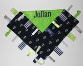 Nautical Anchor Themed PERSONALIZED Ribbon Tag Blanket - Navy Blue, Lime, Gray and Pacifier Clip, Large 16 x 16