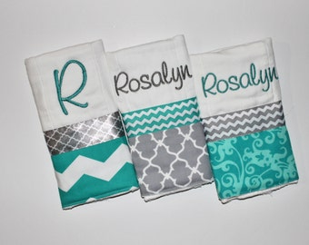 3 Personalized Baby Girl or Boy Burp Cloth Set in Teal and Gray - Chevron, Quatrefoil, and Scrolls