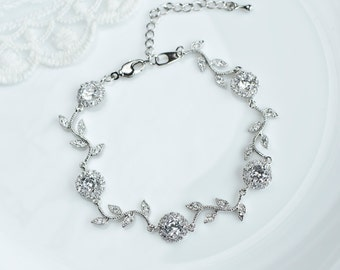 Bridal Bracelet, Cubic Zirconia Round Connector and Branch Tree Bracelet, CZ Bridal Jewelry, Bridal Bridesmaids Necklace, CZ Wedding Jewelry
