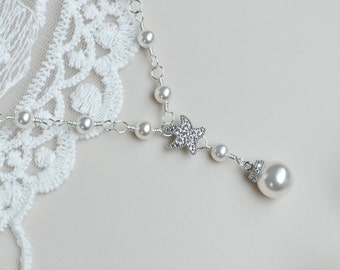 Starfish - Cubic Zirconia Starfish Necklace and Round White Swarovski Pearls, Bridal Necklace, Bridesmaids Necklace, Beach Wedding Necklace