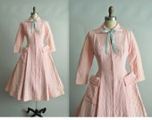 50's Dressing Gown // Vintage 1950's Dorian Quilted Pink New Look Housecoat Robe