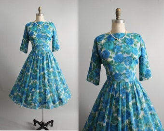 50's Floral Chiffon Dress // Vintage 1950's Blue Floral Chiffon Garden Party Cocktail Dress S