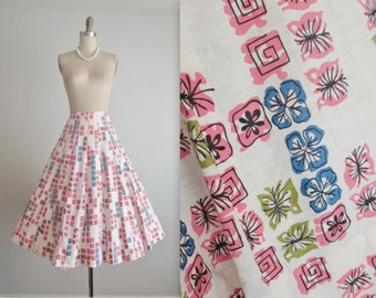 50's Skirt // Vintage 1950's Atomic Abstract Print Cotton Full Gored Skirt M