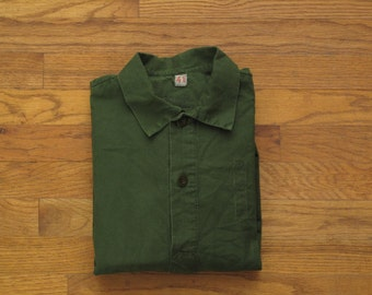 mens vintage Swedish military pop over utility shirt