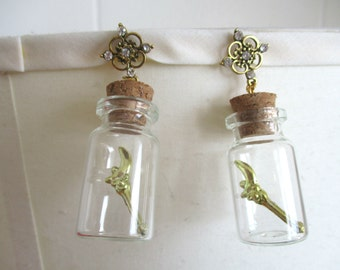 Sailor Moon Earrings - MOON CRESCENT Wands, in a bottle - Sailor Scout Jewelry