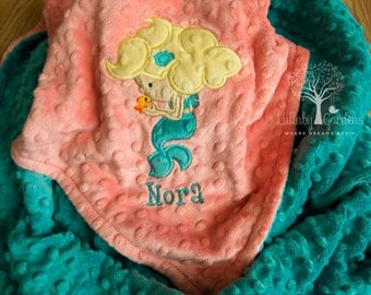 Personalized Minky Baby Blanket, Mermaid Appliqued Minky Blanket, Baby Girl Minky Blanket, Personalized Baby Gift, Mermaid Nursery