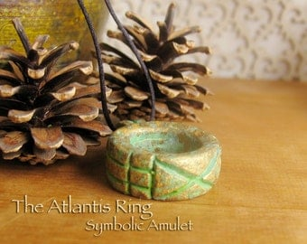 Atlantis Ring Amulet - Protective Talisman - Valley of the Kings Discovery - Handcrafted Clay Pendant with Brass Patina