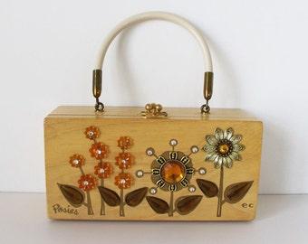 "Vintage Enid Collins ""Posies"" Wooden Box Bag Jeweled Purse Top Handle Buckle Closure 1960s"