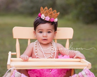 Small Gold Lace Crown - Pink and White Flowers - Newborn Gold Crown - Photo Prop - First Birthday Cake Smash - Baby Gold Crown