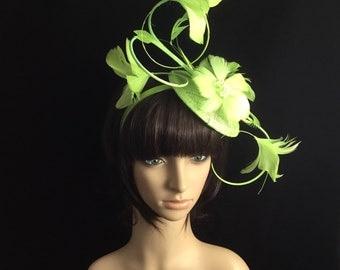 Light Green Fascinator Headband, bridal headband