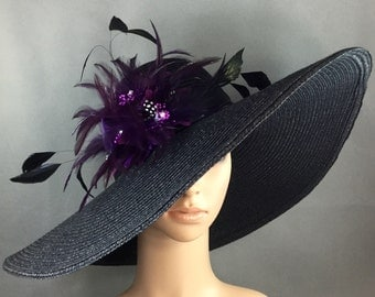 Black Kentucky Derby Hat with Purple feathers, Derby Hat, Church Hat, Dressy Hat ,Formal Hat, Wedding Hat,Special Occasion