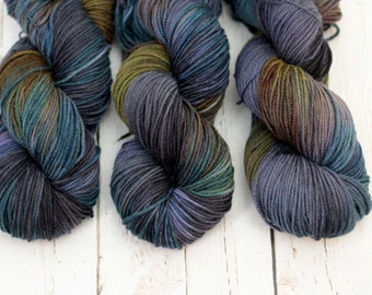 """Hand dyed yarn Merino, Baby Alpaca, Silk """"Shade Tree"""" in Norah, DK weight"""