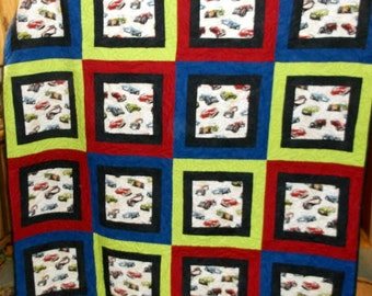 """CLASSIC CARS QUILT (appx 69"""" sq) Final Markdown Man Cave Classic Cars in royal blue, lime and red /Corvettes/ MGs/Roadsters"""